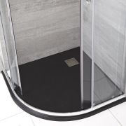Milano Rasa - Graphite Slate Effect Quadrant Shower Tray - 900mm