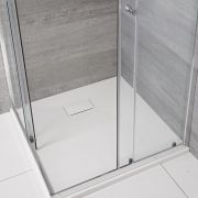 Milano Rasa - Matt White Slate Effect Square Shower Tray - 900mm