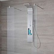 Milano Vista - Modern Exposed Thermostatic Shower Tower Panel with Shelf, Large Shower Head, Hand Shower and Body Jets - Chrome
