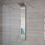 Milano Vista - Modern Exposed Thermostatic Shower Tower Panel with Shelf, Large Shower Head, Waterblade, Hand Shower and Body Jets - Chrome