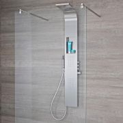 Milano Vista - Modern Exposed Shower Tower Panel with Shelf, Large Shower Head, Hand Shower and Body Jets - Chrome