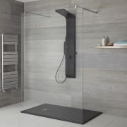 Milano Dalston - Modern Exposed Shower Tower Panel with Large Shower Head, Hand Shower and Body Jets - Black