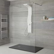 Milano Dalton - Modern Exposed Shower Tower Panel with Shelf, Large Shower Head, Hand Shower and Body Jets - White
