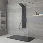 Milano Orton - Modern Exposed Shower Tower Panel with Shelf, Large Shower Headm Hand Shower and Body Jets - Black