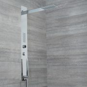 Milano Vis - Modern Concealed Digital Shower Tower Panel with Rainfall Shower Head, Body Jet and Hand Shower
