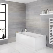 Milano Farington - White Modern Reversible Standard Single Ended Bath - Choice of Sizes