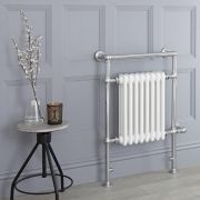 Milano Trent - White Traditional Electric Heated Towel Rail - 930mm x 620mm (Flat Top Rail)