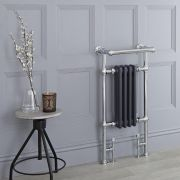 Milano Trent - Anthracite Traditional Heated Towel Rail - 930mm x 452mm (With Overhanging Rail)