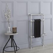 Milano Trent - Black Traditional Electric Heated Towel Rail - 930mm x 450mm (Flat Top Rail)