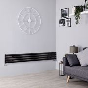 Milano Aruba Slim - Black Space-Saving Horizontal Designer Radiator - 236mm x 1780mm