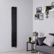 Milano Aruba Slim Electric - Black Vertical Designer Radiator - 1780mm x 236mm (Double Panel)