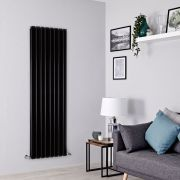 Milano Alpha - Black Flat Panel Vertical Designer Radiator - 1780mm x 560mm (Double Panel)
