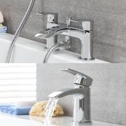 Milano Razor - Modern Deck Mounted Basin with Bath Mixer Tap and Hand Shower Set - Chrome