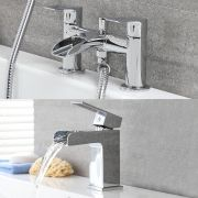 Milano Parade - Modern Waterfall Basin Tap with Matching Bath Mixer Tap and Hand Shower Set - Chrome