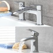 Milano Wick - Modern Deck Mounted Basin Tap and Bath Filler Tap Set - Chrome