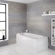 Milano Ballam - White Modern Round Single Ended Standard Bath - 1800mm x 800mm