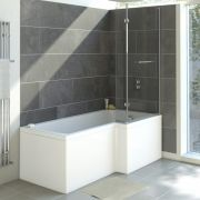 Milano - White Modern Right Hand Square Shower Bath with Front Panel - 1700mm x 850mm (No Tap-Holes)