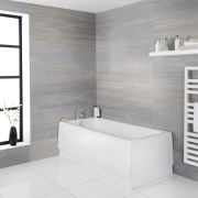 Milano Farrington - White Modern Single Ended Standard Bath - 1500mm x 700mm