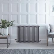Milano Windsor - Anthracite Traditional Horizontal Column Radiator - 600mm x 785mm (Triple Column)