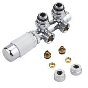 "Milano - Chrome 3/4"" Male H-Block Angled Valve With White TRV Head With 14mm Multi Adaptors"