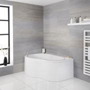 Milano Irwell - White Modern Right Hand Corner Bath with Panel - 1500mm x 1000mm