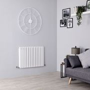 Milano Aruba Aiko - White Horizontal Designer Radiator - 600mm x 834mm (Double Panel)
