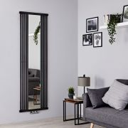 Terma Intra - Black Vertical Designer Radiator With Mirror - 1900mm x 640mm