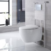 Milano Altham - White Modern Wall Hung Toilet with Tall Wall Frame and Choice of Flush Plate - 360mm x 385mm