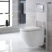 Milano Irwell - White Modern Wall Hung Toilet with Tall Wall Frame and Choice of Flush Plate - 385mm x 365mm