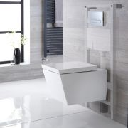 Milano Dalton - White Modern Wall Hung Toilet with Tall Wall Frame and Choice of Flush Plate - 350mm x 360mm