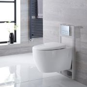 Milano Altham - White Modern Wall Hung Toilet with Short Wall Frame and Choice of Flush Plate - 360mm x 385mm