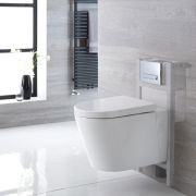 Milano Farington - White Modern Wall Hung Toilet with Short Wall Frame and Choice of Flush Plate - 365mm x 350mm