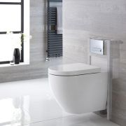 Milano Irwell - White Modern Wall Hung Toilet with Short Wall Frame - Choice of Flush Plate