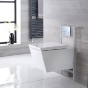 Milano Dalton - White Modern Wall Hung Toilet with Short Wall Frame and Choice of Flush Plate - 350mm x 360mm