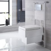 Milano Westby - White Modern Wall Hung Toilet with Tall Wall Frame and Choice of Flush Plate - 410mm x 340mm