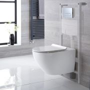 Milano Overton - White Modern Wall Hung Toilet with Tall Wall Frame - Choice of Flush Plate