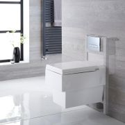 Milano Westby - White Modern Wall Hung Toilet with Short Wall Frame and Choice of Flush Plate - 410mm x 340mm