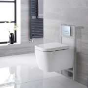 Milano Longton Wall Hung Toilet, Short Wall Frame and Choice of Flush Plate