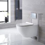 Milano Overton - White Modern Wall Hung Toilet with Short Wall Frame and Choice of Flush Plate - 340mm x 360mm