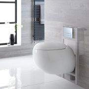Milano Mellor - White Modern Wall Hung Toilet with Short Wall Frame - Choice of Flush Plate