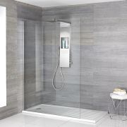 Milano Vaso - Complete Walk-In Shower Enclosure with Walk-In Tray and Shower Tower - Choice of Sizes