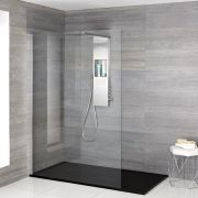 Milano Vaso - Complete Walk-In Shower Enclosure with Slate Tray and Shower Tower - Choice of Sizes