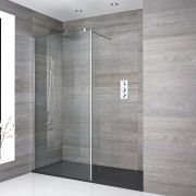 Milano Portland Recessed Walk-In Shower Enclosure (1700 x 900mm) - Inc. Slate Tray & Return Panel