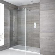 Milano Portland - Recessed Walk-In Shower Enclosure with Walk-In Tray and Return Panel - Choice of Sizes