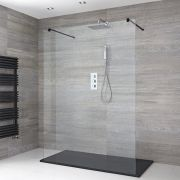 Milano Nero - Walk-In Shower Enclosure with Slate Tray - Choice of Sizes
