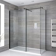 Milano Nero - Corner Walk-In Shower Enclosure with Tray and Return Panel - Choice of Sizes