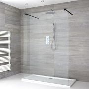 Milano Nero - Floating Walk-In Shower Enclosure with Tray - Choice of Sizes