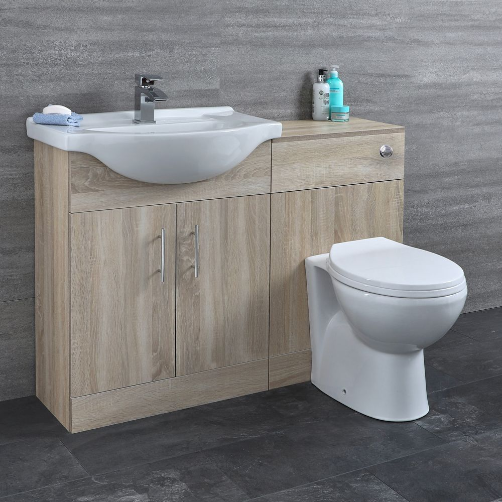Milano Arch Oak Modern 1140mm Vanity And Wc Combination Unit