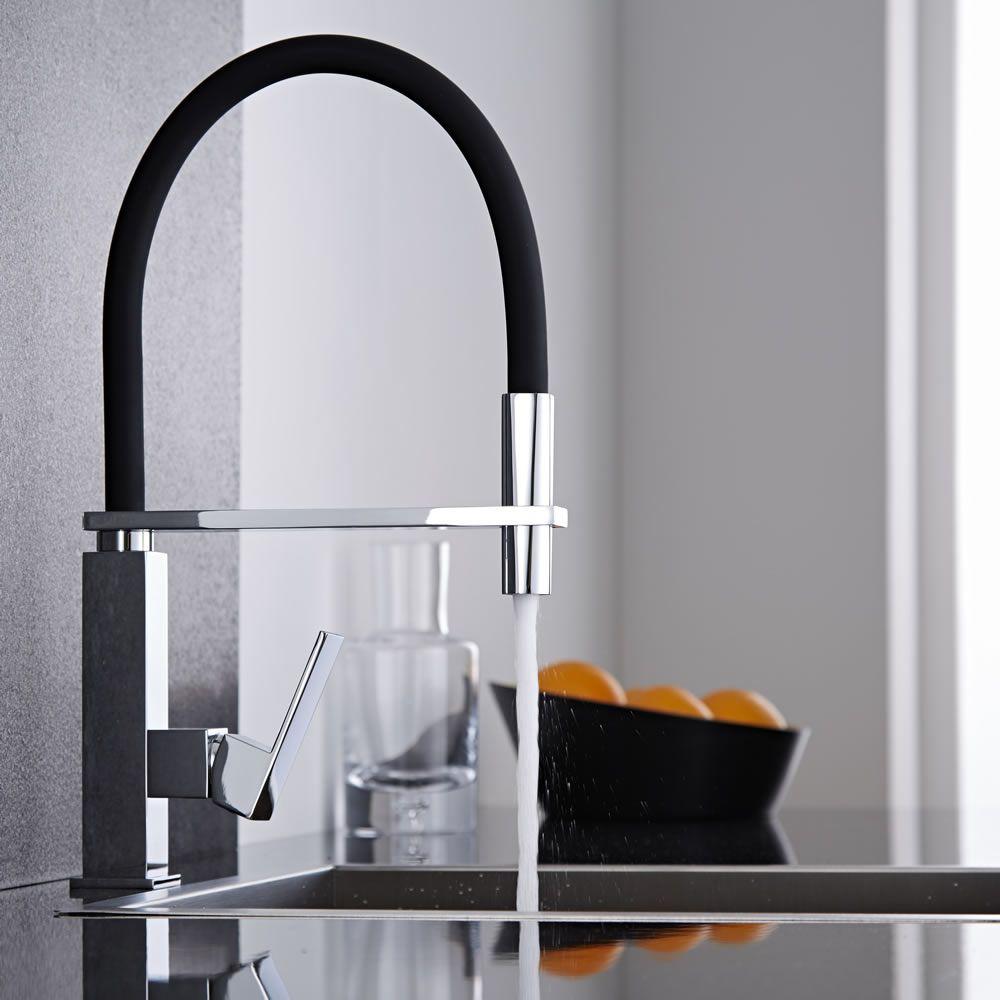 Single Lever Pull-Out Spray Mixer Tap Mono Kitchen Taps in Black/&Chrome//Chrome