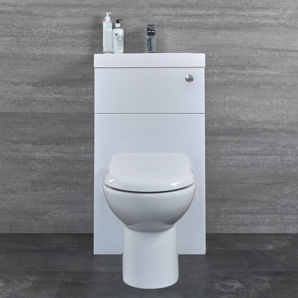 Milano Farington White Ceramic Modern Close Coupled Bathroom Toilet Pan WC and Cistern with Soft Close Seat